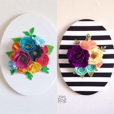 I've now added the option to choose stripes or a solid color to my felt flower canvas wall hangings! Felt Flowers, Diy Flowers, Fabric Flowers, Paper Flowers, Felt Diy, Felt Crafts, Diy And Crafts, Felt Decorations, Flower Decorations
