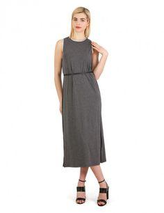 Ανθρακί μίντι φόρεμα με σκισίματα - Γκρι