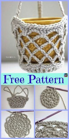 15 Useful Crochet Hanging Basket - Free Patterns This Crochet Hanging Basket project is super useful, and great for organizing. They are simple to crochet too! Unique Crochet, Cute Crochet, Boy Crochet, Crochet Bags, Crochet Lampshade, Crochet Plant Hanger, Knitting Patterns, Crochet Patterns, Crochet Stitches