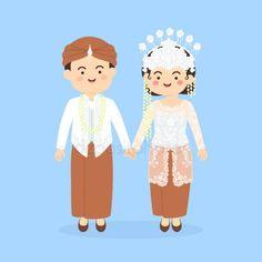 West Java Sundanese Indonesia Wedding Couple, cute Indonesian Sunda traditional clothes costume bride and groom cartoon vector illustration — Stock Illustration