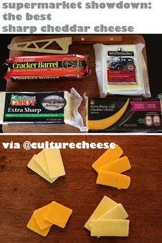 @culturecheese did a showdown of four supermarket cheddar cheeses. In the naked cheese shot, from the top left: Cabot, Stop n Shop; bottom left: Cracker Barrel and Westminster. And the winner is: (sorry, no spoilers!)