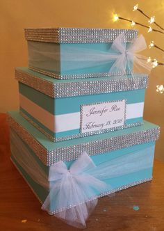 Card box three tier large square card box perfect for a wedding baby shower bridal shower or birthday party by JayLeeDesign on Etsy https://www.etsy.com/listing/264027927/card-box-three-tier-large-square-card