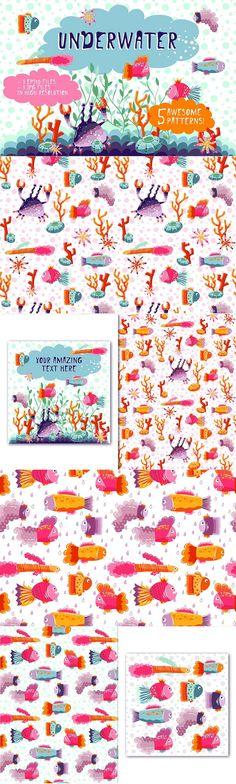 Underwater #graphics #illustrations #texture collection for greeting card, clothes design, textile design etc download now➩ https://creativemarket.com/SuperNata/1225504-Underwater?u=Datasata