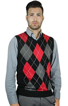 Men's red/grey argyle sweater. Argyle is the sexiest thing on the ...