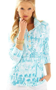 c56b8863e950 Lilly Pulitzer Captain Printed Popover Lilly Pulitzer Tops