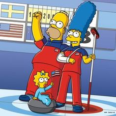 Marge of course was the star of The Simpsons' curling team. Cartoon Tv, Cartoon Characters, Fictional Characters, The Simpsons Show, Homer And Marge, Ned Flanders, Simpsons Drawings, Favorite Cartoon Character, American Gods