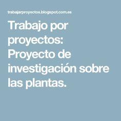 Trabajo por proyectos: Proyecto de investigación sobre las plantas.
