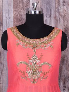 Shop Plain peach silk anarkali suit online from G3fashion India. Brand - G3, Product code - G3-WSS21906, Price - 3850, Color - Peach, Fabric - Silk,