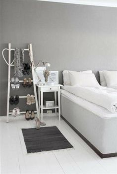 Interior Design, Mesmerizing Gray Paint For Bedroom Wall Decorating Design For Girls With White Double Sized Bed Also Blackish Mat And Side ...