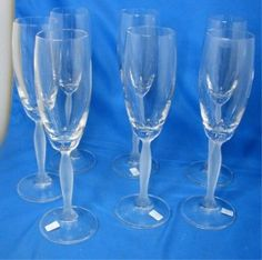 d09462995cf9 10B  8 Crystal Champagne Flutes w Frosted Stem on