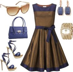 blue and copper dress, created by catphi on Polyvore