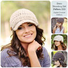 Crochet Pattern Basic Newsboy Hat Pattern 001 door SimplyMadeByErin, $5.00