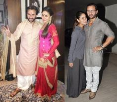 ey both look? Kareena wore ablue polka-dotted shirt and Saif matched his women by adding a