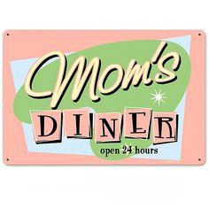 Moms Diner Vintage Pastel Kitchen Metal Sign (275.400 IDR) ❤ liked on Polyvore featuring home, home decor, wall art, art, vintage home decor, metal home decor, vintage signs, metal signs and vintage metal signs