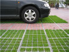 Parking spaces made with grass reinforcement is perfect for infiltrating storm water.