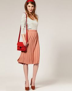 way to wear a long pleated skirt
