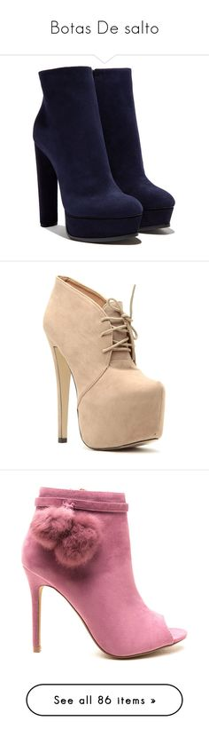 """""""Botas De salto"""" by kaylannebieber ❤ liked on Polyvore featuring shoes, boots, ankle booties, heels, ankle boots, booties, suede heel boots, suede ankle booties, platform booties and platform heel boots"""