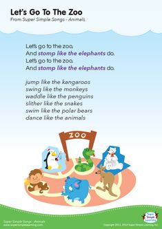 """poster for Let's Go To The Zoo"""" animal song from Super Simple Learning.Lyrics poster for Let's Go To The Zoo"""" animal song from Super Simple Learning. Preschool Zoo Theme, Preschool Music, Preschool Learning, Toddler Learning, Preschool Activities, Preschool Lessons, The Zoo, Songs For Toddlers, Kids Songs"""