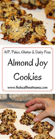 Paleo Almond Joy Cookies Gluten Free Dairy Free Soy Free Egg Free www thehealthnutm. Almond Joy Cookies, Paleo Cookies, Gluten Free Cookies, Gluten Free Baking, Chip Cookies, Delicious Cookies, Honey Cookies, Protein Cookies, Delicious Desserts