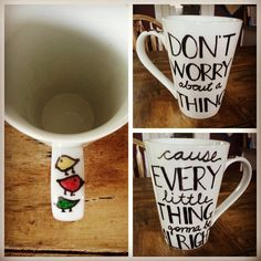 How could you have a bad day if you start w. coffee in this mug?! I would be a happy girl!  Custom Coffee Mug. Bob Marley 3 Little Birds. by LoveItGetItGotIt, $14.00