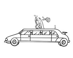 bride in limo coloring page