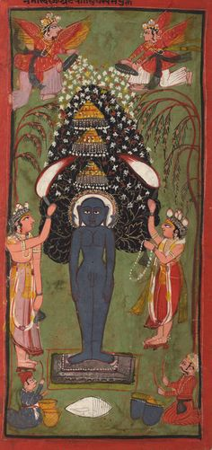 Jina Nemi the 22nd Thirthankar of the Jain religion. As legend has it on the way to his wedding the sight of animals penned to be slaughtered to feed the wedding guest led him to renounce worldly life. Vegetarianism and the principle of doing no-harm is central to Jain philosophy. 17th C India