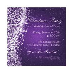 Christmas Party Invitation Elegant Sparkle Purple   $1.70