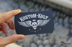 Kustom Kult Black Metal Business Cards by MyMetalBusinessCard.com #blackmetal #metalbusinesscards #metalcards #stainlesssteel #businesscards #kustomkult #art #artwork #design