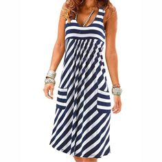 Shopping Round Neck Striped Shift Dress online with high-quality and best prices Casual Dresses at Luvyle. Women's Dresses, Casual Dresses, Fashion Dresses, Summer Dresses, Pretty Dresses, Shift Dresses, Beautiful Dresses, Elegant Dresses, Fashion Coat