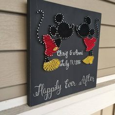 Minnie & Mickey String Art Home Decor Wedding Gift String Art Templates, String Art Tutorials, String Art Patterns, String Wall Art, Nail String Art, Cute Crafts, Crafts To Do, Arts And Crafts, Disney Diy