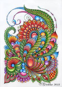 Zentangle art, zentangle gems and droplets, doodle flowers Zentangle Drawings, Mandala Drawing, Mandala Painting, Zentangle Patterns, Zentangles, Zen Doodle, Doodle Art, Flower Doodles, Doodle Flowers