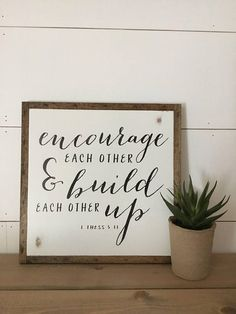 ENCOURAGE 1'X1' sign distressed wooden sign