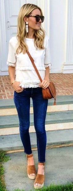 #summer #outfits White Tassel Top Navy Skinny Jeans Brown Suede Wedge