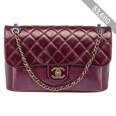 Pre-owned Chanel Urban Mix Burgundy Leather & Python Flap Shoulder Bag