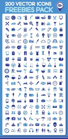 200 vector icons freebies pack