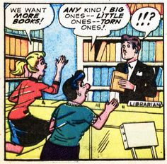 This comic library scene comes from Comically Vintage and an odd one it is. Evidently, this is an older comic strip however the librarian isn't a stereotype! He looks like Errol Flynn and is dresse. Old Comics, Vintage Comics, Funny Comics, Comic Books Art, Comic Art, Library Humor, Babel, Reading Library, Reading Room