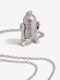 Love And Madness x Star Wars R2-D2 silver long chain necklace at Her Universe ⭐️ Star Wars fashion ⭐️ Geek Fashion ⭐️ Star Wars Style ⭐️ Geek Chic ⭐️