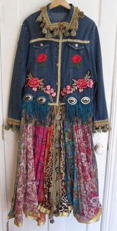 92f973ffd52 Custom Multicolored Denim Blue Jean Jacket Full Length Coat Roses Fringe  Size XL. Podrasowane UbraniaKurtki ...
