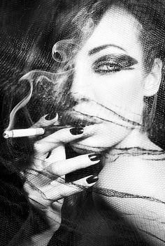 Smoking Beauty by Famke Backx, via Flickr #face #looking #side #bw #hand #smoking #holding #cigarette #smoke #veil