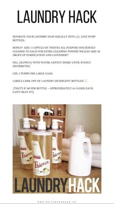 "Laundry Soap Hack with Young Living""s Thieves All Purpose Cleaner Essential Oils For Laundry, Yl Essential Oils, Young Living Essential Oils, Essential Oil Blends, Young Living Oils, Young Living Thieves, Young Living Products, Yl Oils, Natural Cleaning Products"