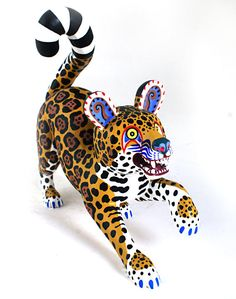 Oaxacan Wood Carvings Miguel Gil Santiango Leopard