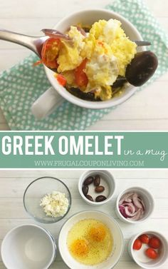Looking for a quick and easy breakfast recipes. This breakfast mug is tasty and healthy. Greek Mug Omelet on Frugal Coupon Living. Breakfast Mug Recipe.