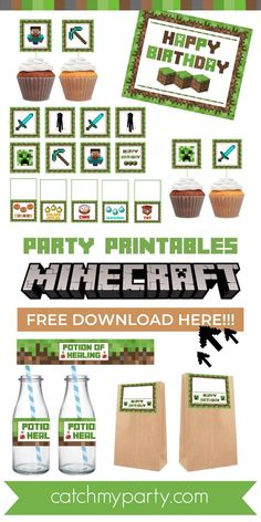 Download these FREE Minecraft Party Printables now! See more party ideas and share yours at CatchMyParty.com #catchmyparty #partyideas #minecraft #minecraftprintables #minecraftpartydecorations