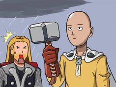 Saitama (One-Punch Man) wields Thor's hammer. Worthy? Debatable. Funny nevertheless.