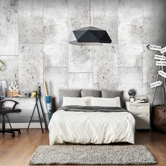 White concrete effect deco wallpaper – Wallpaper – Wall decoration – Decoration Industrial Bedroom Design, Modern Industrial Decor, Modern Wallpaper, Wall Wallpaper, 3d Design, Wall Design, Minimalist Bedroom, Home Accessories, Sweet Home