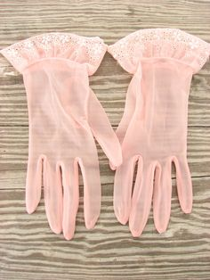 50s Sheer Pink Embroidered Gloves
