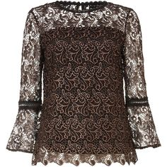Phase Eight Tianna Metallic Lace Blouse ($75) ❤ liked on Polyvore featuring tops, blouses, sale women tops, sleeved shirt, party shirts, metallic shirt, going out shirts and lace sleeve shirt