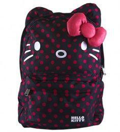 Amazon.com: Hello Kitty Black and Pink Polka Dots Backpack: Clothing