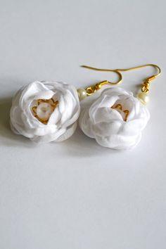 Kolczyki - Róże białe