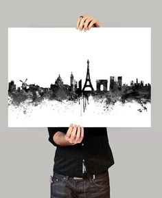 Paris Skyline Watercolor Print, Paris France Cityscape Art Print, Watercolor Skyline Black & White (73)